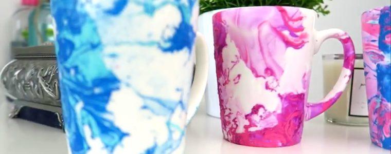 رنگ کردن لیوان توسط لاک ناخن
