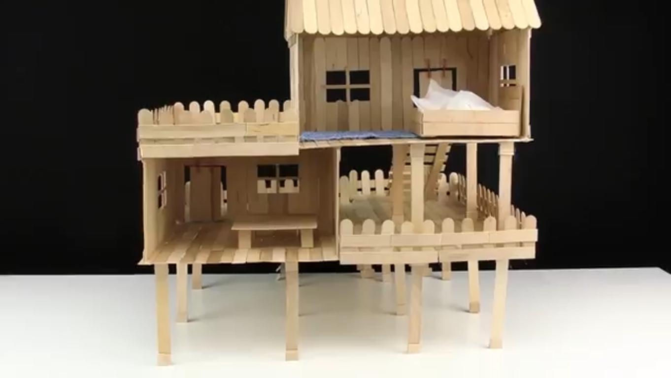 آموزش ساخته خانه چوبی با چوب بستنی